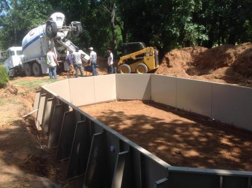 On site building a Fabcote Grecian Pool